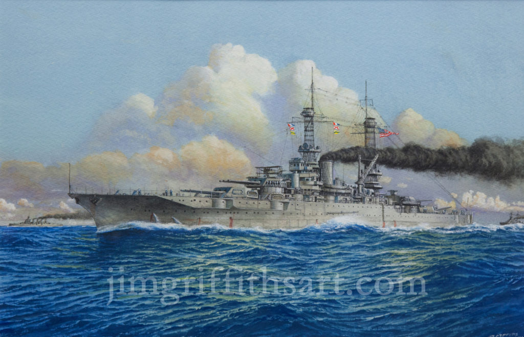 """New Mexico at Sunset"",12 1/2 x 19"", USS New Mexico (BB-40), Spring, 1919, Collection of the artist."