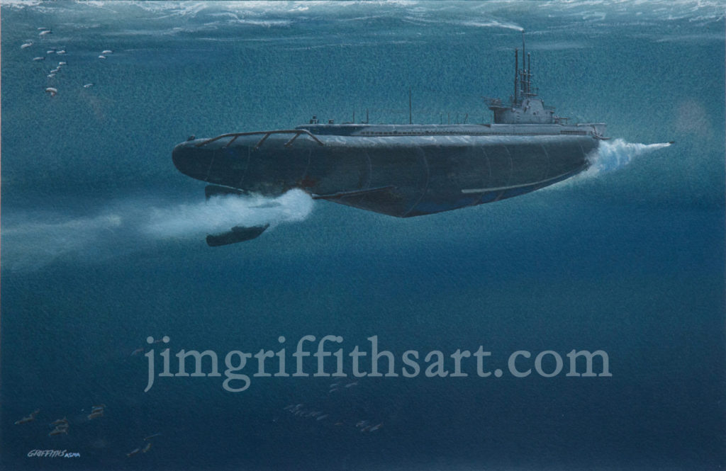 """One Away"", 12 1/2 x 19"", WW II USN Gato-class Sub; collection of the arrtist."