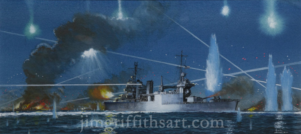 """The Barroom Brawl"", 10 x 21 3/8"", USS San Francisco (CA-38), 3rd Battle of Savo Island, November, 1942; Collection of the artist."