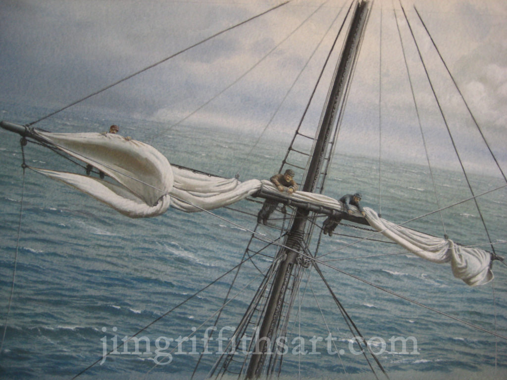 """Bringing in the Royal"", 11 1/2 x 19"", sailors furling mizzen royal sail; Collection of the artist."
